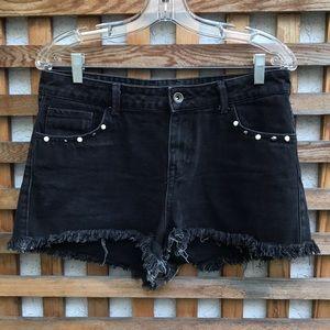 Zara High Rise Distressed Pearl Denim Shorts 8